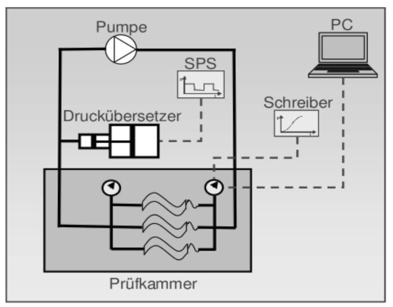 Pulsationsprüfstand-Prinzip
